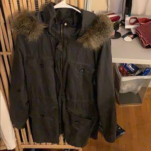 Dark gray drawstring utility jacket